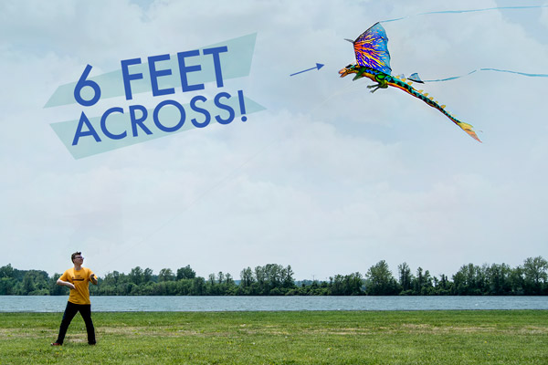 Man flying a 6-foot 3D Dragon Kite.
