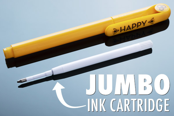 A jumbo ink cartridge allows the 7-Year Pen to write for an unprecedented amount of time.