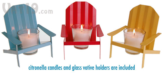 Each Order Includes Three Adirondack Chair Votive Candle Holders: Blue, Red  And Yellow.