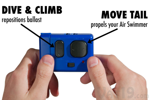 Air Swimmers are easy to fly with the simple remote control.