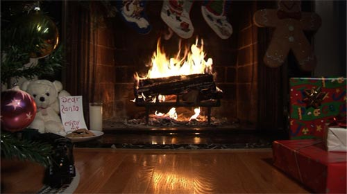 Ambient Fire Video Fireplace DVD Premium Fake Fireplace DVD - Christmas cabin fireplace scenes