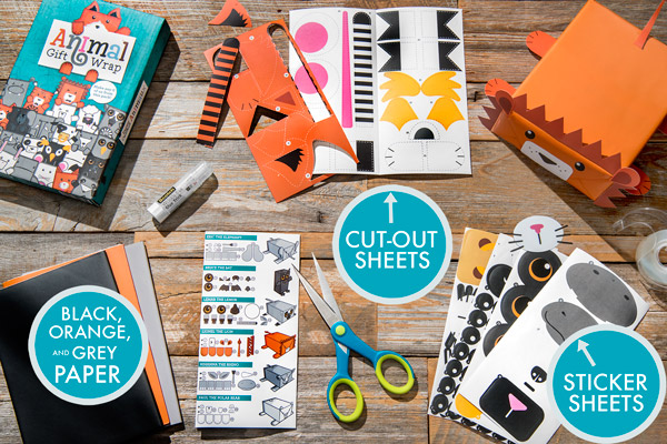 Animal Gift Wrap kit includes paper, cut-out sheets, and sticker sheets.