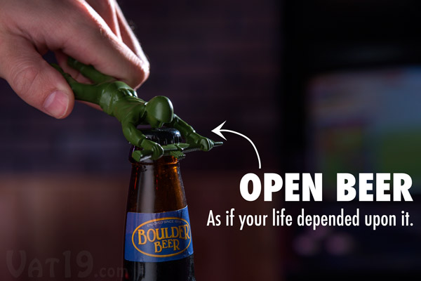 Die-Cast Metal Army Man Bottle Opener being used in a bar.