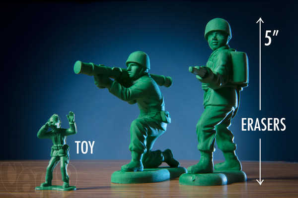 Army Men Erasers are substantially larger than their plastic toy counterparts.
