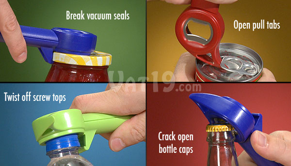 The Auto Safety Master Opener can break vacuum seals, twist off screw tops, crack open soda and beer bottles, and remove pull tabs.