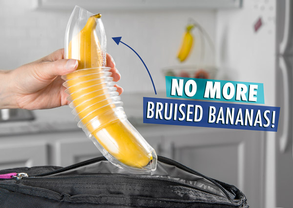 Banana Bunker banana container protects against bruised bananas.