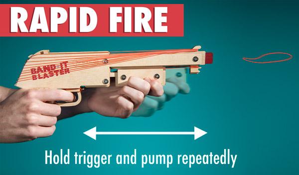 Rubber Band Shotgun in rapid fire mode.