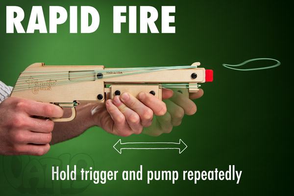 Rubber Band Shotgun in rapid fire mode.