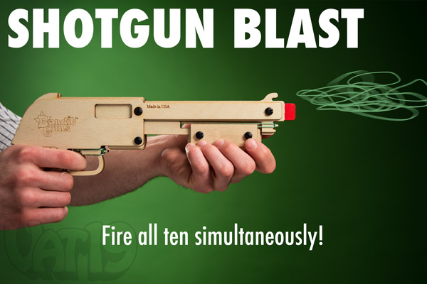Rubber Band Shotgun performing a shotgun blast of rubber bands.