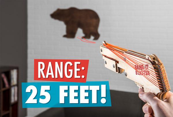 The Bandit Gun Rubber Band Shotgun shoots up to 25 feet.