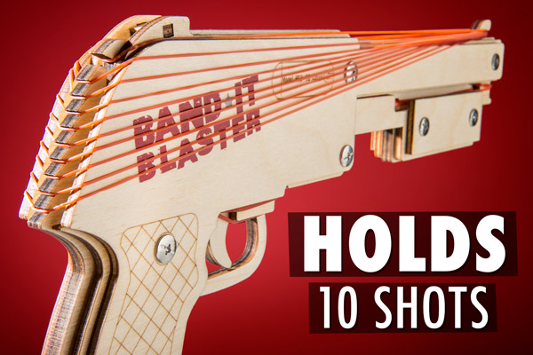The Bandit Gun Rubber Band Shotgun holds up to 10 rubber bands at once.