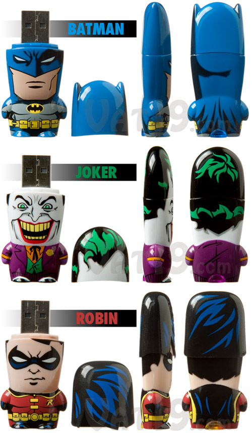 Choose from Batman, Joker, and Robin USB 2.0 Flash Drives.