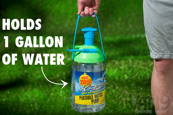The Battle Pump holds 1 gallon of water which should produce 15-20 average-sized water balloons.