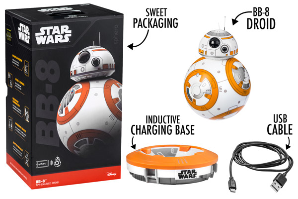 Inside the sweet packaging, you'll find BB-8, an inductive charging base, and a USB cable.