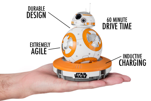 Through inductive charging, BB-8 packs 60 minutes of agile driving into a durable design.