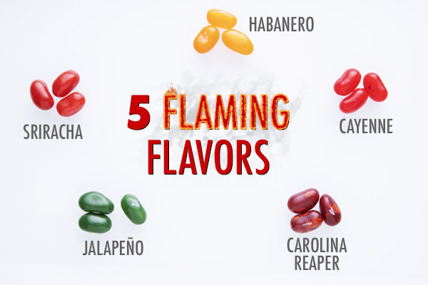 The beans come in five tongue-torching flavors: Sriracha, Jalapeño, Cayenne, Habanero, and Carolina Reaper