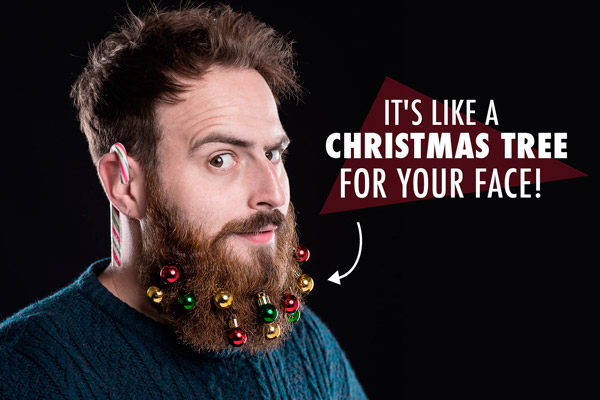 10 mini ornaments help decorate your beard for the season.
