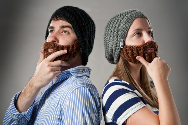 The Original Beard Hat designed by a Canadian snowboarder.