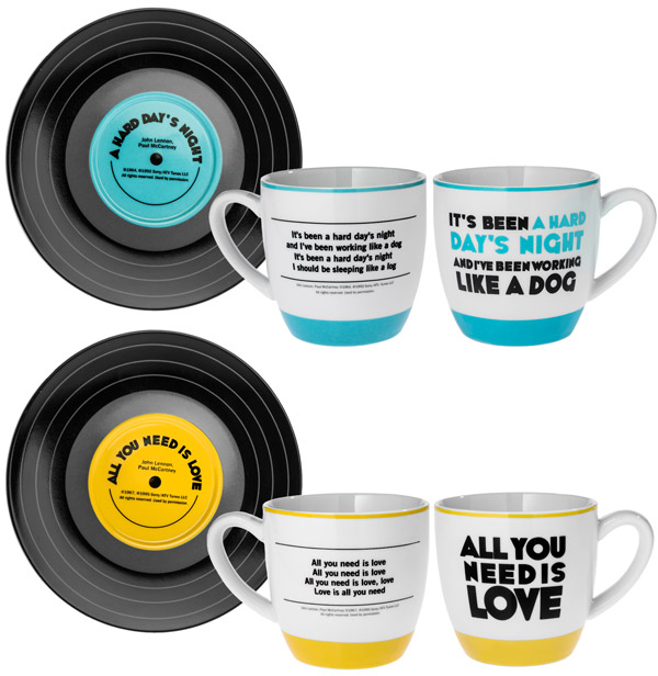 Song lyrics are printed on the mug wall and the saucer is styled like a vinyl record.