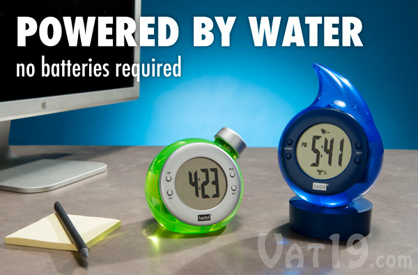 Bedol Water-Powered Alarm Clock and Clock on a table.