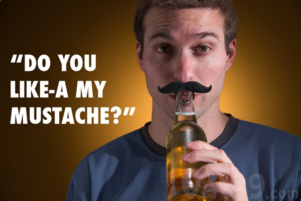 BeerMo Bottle Mustache on a man.