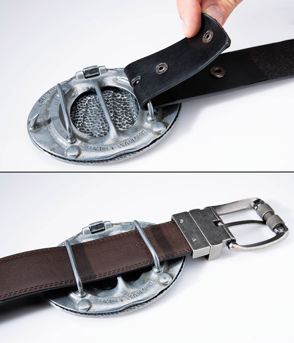 The belt buckle in use on two different belts