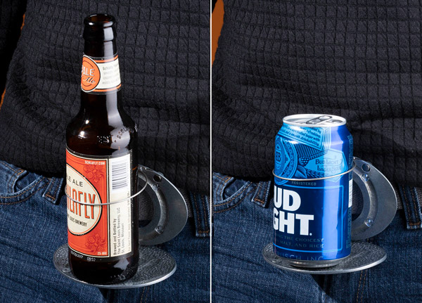 Two images of a Bev Buckle holding a can and a Bev Buckle holding a bottle