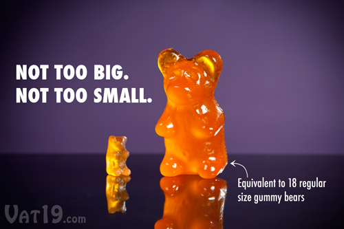 Big Gummy Bears are the equivalent of 18 regular size gummy bears.