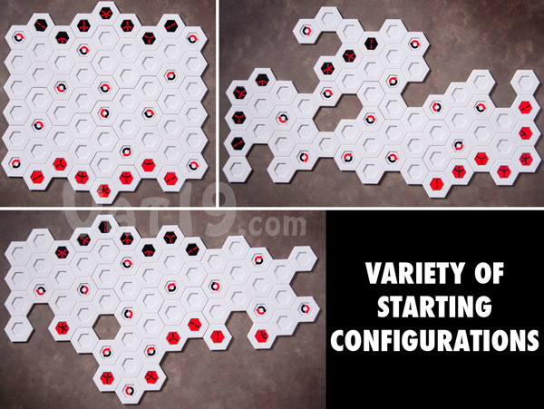 The Blindside game board can be configured in a multitude of ways simply be rearranging the interlocking board pieces.