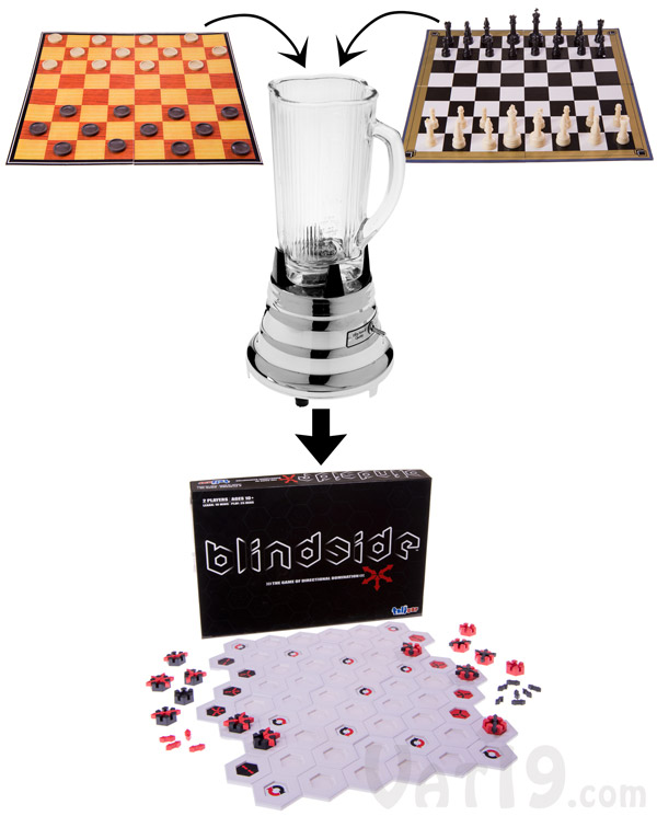 Blindside is an interesting amalgamation of Chess and Checkers.