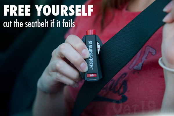 BodyGard seatbelt cutter will slice through a jammed or malfunctioning seatbelt.