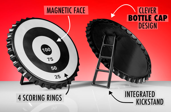 Magnetic face, 4 scoring rings, Clever bottle cap design, Integrated kickstand