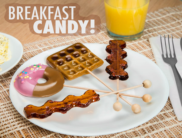 Candy Breakfast Lollipops on a plate.