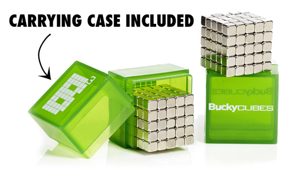 Each set of BuckyCubes includes a plastic carrying case.