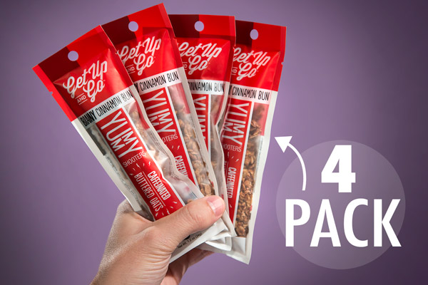 Each order of Caffeinated Granola comes with 4 packs.