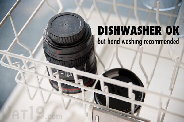 While safe in the dishwasher, the manufacturer recommends hand washing the Camera Lens Mug.