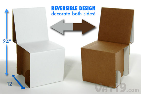 The Cardboard Chair Is Easily Flipped Inside Out For Two Rounds Of Decoration