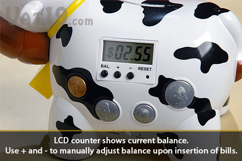 The Cash Cow Electronic Bank keeps track of your balance on its LCD screen.