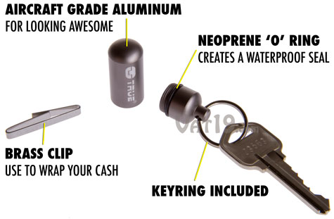 The Cash Stash keyring capsule is made from aircraft grade aluminum and features a neoprene o-ring.