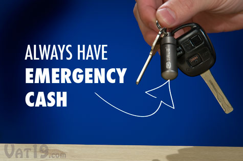 The CashStash keychain capsule holds money for emergencies.