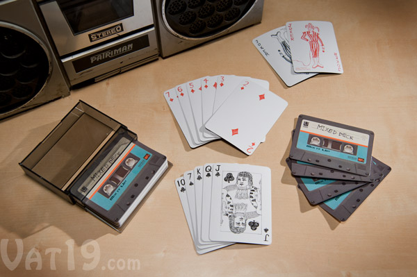 Set of gray Tape Deck Playing Cards on a table.