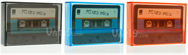 Cassette Tape Playing Cards are available in a variety of case colors.