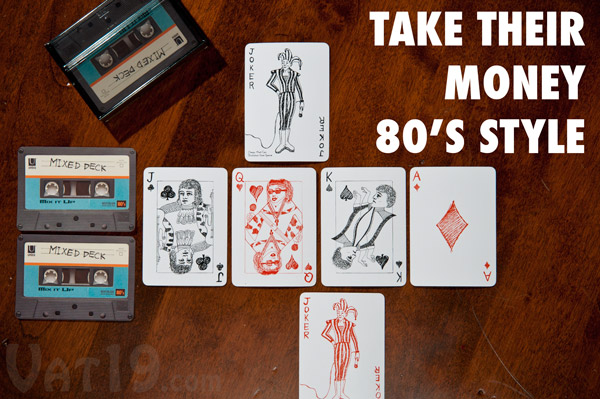 80s nostalgia cassette tape playing cards.