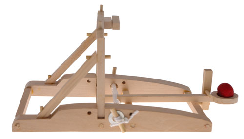 Using glue and a little elbow grease, it's easy to assemble your working wooden catapult.