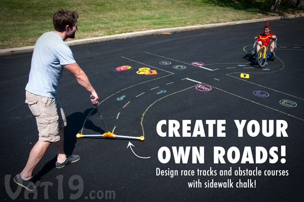 Create sidewalk chalk courses with the Chalk City Road Maker and Stencil Sets.