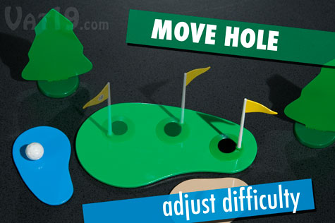 Adjust the pin location on the green to modify the difficulty of the desktop golf game.