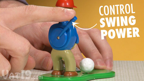 Control the power of the golfer's swing with your finger.