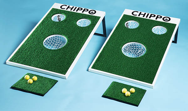 Chippo includes game board, chipping pads, and balls.