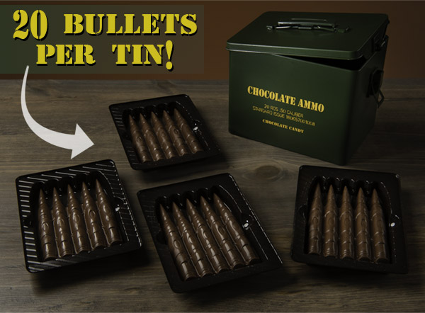 Your edible ammo is packed in a military-style tin with 20 bullets.