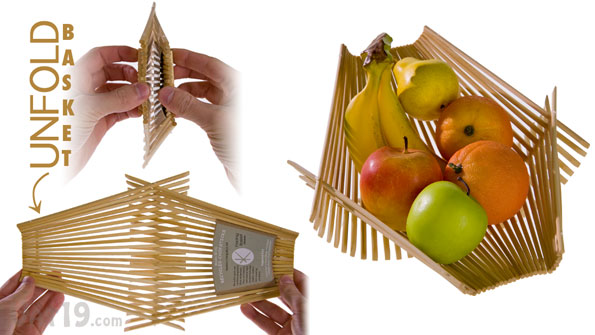Simply unfold the Recycled Chopsticks Folding Basket.